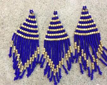 1 pc seed bead flat tassel boho fringe blue handmade India jewelry making supplies earrings