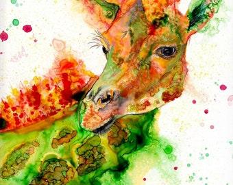 Giraffe art print: animal nursery art giraffe decor giraffe nursery giraffe gift zoo animal art giraffe spirit animal giraffe lover gift