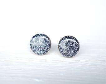 Dark Silver Glitter Wood and Resin Stud Earrings