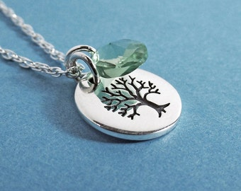 Tree of Life Necklace - Tree of Life Charm. Silver Necklace, Sterling Silver, Crystal