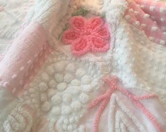 Plush  Handmade Vintage Chenille Patchwork Cottage Chic Pink and White Baby Blanket