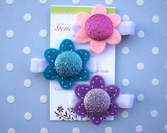 Glitter Girl....Set of 3 Felt Flower with Glitter Center Handmade Clips