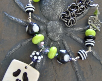 Halloween Lampwork Beaded Ceramic Pendant Necklace-Wire Wrapped Necklace-Lime Greens- Black-Artisan Ceramic Pendant-Artisan Lampwork-SRAJD