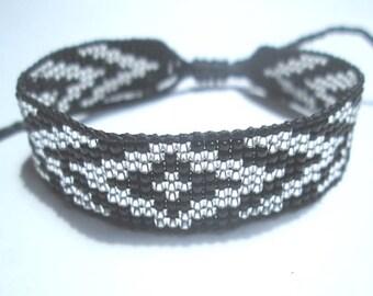 Huichol Native American Inspired Black and Silver Beaded Friendship Bracelet 100