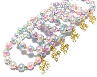 6, 8 or 10 Unicorn Party Favor Small Beaded Charm Bracelets - Girls Pink, Purple, Blue, Gold Bracelets - Unicorn Goodie Bags- Pastel Unicorn
