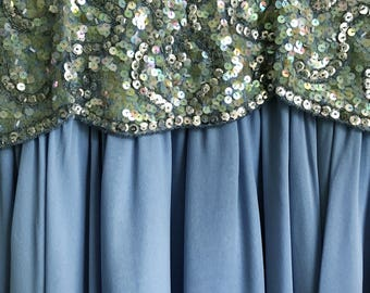 1980s Sequins & Silk Mother of Pearl Ball Gown