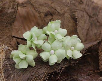 5 Small Green  Mulberry Paper Flower Hair Pins , Bridal Hair Pins, Hair Bobby Pins,U pins,Prom,Bridal Hair Accessories (FL348)