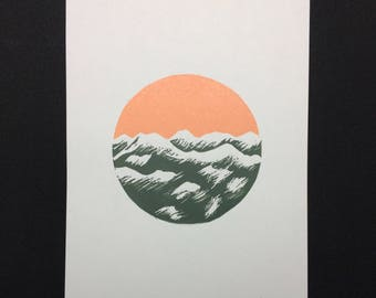 "A5 ""Whistler--Springtime Sunrise"" Signed Linocut Print Ltd Ed of 10 Minimal / Wall Art / Home Decor / Art Print"