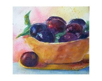 Original Fruit Watercolor * PLUMS * Art By Rodriguez