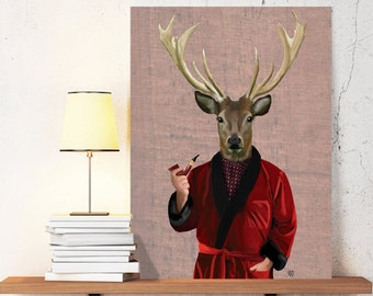 Deer art print - Deer Smoking Jacket - Wall Decor Wall Art geekery pipe smoker stag man cave art man cave décor man cave prints victorian