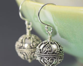 Gifts for her Bali earrings round sterling silver earrings dangle earrings gifts for her