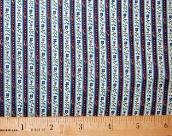 Calico Stripes Fabric Vintage Quilting Blue Green Red VIP Cranston