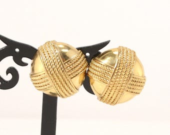 Vintage Givenchy Earrings Paris New York Designer Signed Clip Earrings Domed Goldtone Wide Couture