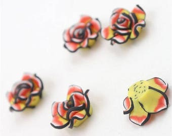 """5 gorgeous beads polymer clay, molded flower cabochons """"flamenco"""" 20mm approx"""