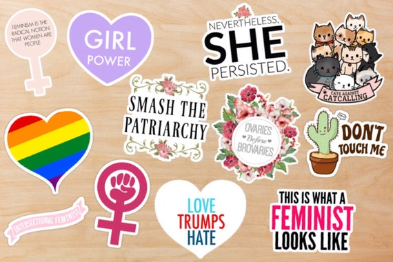 Feminist sticker pack liberal democratic social justice girl power feminism sticker pack laptop stickers nasty woman feminist gift