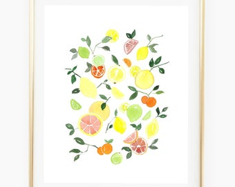 Citrus Tango - Watercolor Art Print, citrus print, oranges painting , wall art pinterest, kitchen decor, gift for her, wall gallery