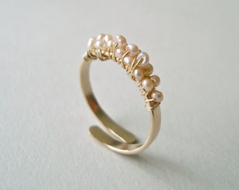 Tiny Pink Pearl Ring, Adjustable Pearl Wire Ring, Wire Wrapped Pearl Ring, Stacking Pearl Ring