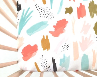 Crib Sheet Abstract 01. Fitted Crib Sheet. Baby Bedding. Crib Sheets. Watercolor Crib Sheet. Coral Crib Sheet.