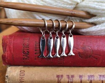 5 Handmade fish knitting or crochet stitch markers