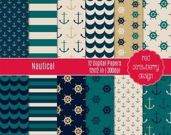 75% OFF Sale - Nautical - 12 Digital Papers - Instant Download - JPG 12x12 (DP271)