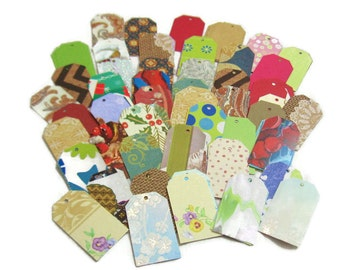 100 Die Cut Gift Tags with Holes - Nice Variety of Patterns and Colors