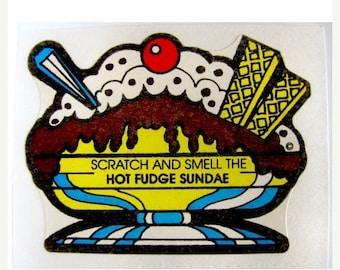 SALE Vintage Mello Smello Scratch and Sniff Hot Fudge Sundae Sticker 80's