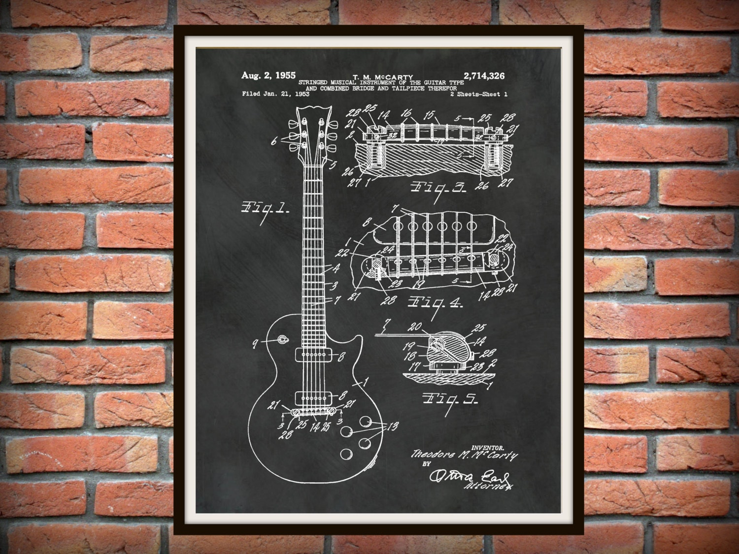 Patent 1955 Gibson Les Paul Guitar Designed By T McCarty Rock Band Instrument