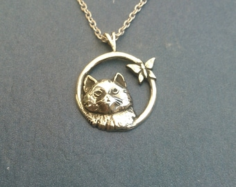 Sterling Silver Cat With Butterfly Necklace