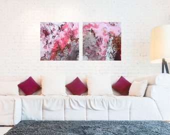 Artwork, painting-pink, Bordaux, gold-set of 2 abstract