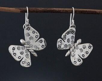 Sterling Silver Butterfly Earrings - Silver Earrings - Hand Stamped Earrings, Stamped Butterfly - Flutter Earrings - Sherry Tinsman