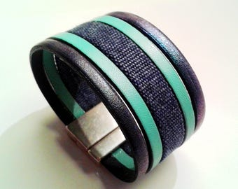 glittery Mint and raw denim blue leather with silver magnetic clasp Navy cuff