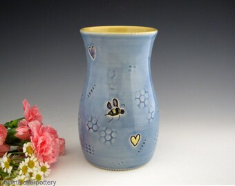 Pottery Vase in Blue with Bees and Honey Comb Texture - Handmade Vase with Honey Bees and Hearts - Flower Vase - by DirtKicker Pottery