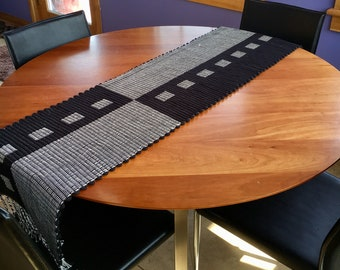 Black & White Table Runner w/ red accent thread