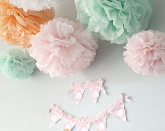 Tissue paper pom poms, baby girl shower decorations, wedding shower decorations, flower pom poms, paper party decorations, tissue pom poms
