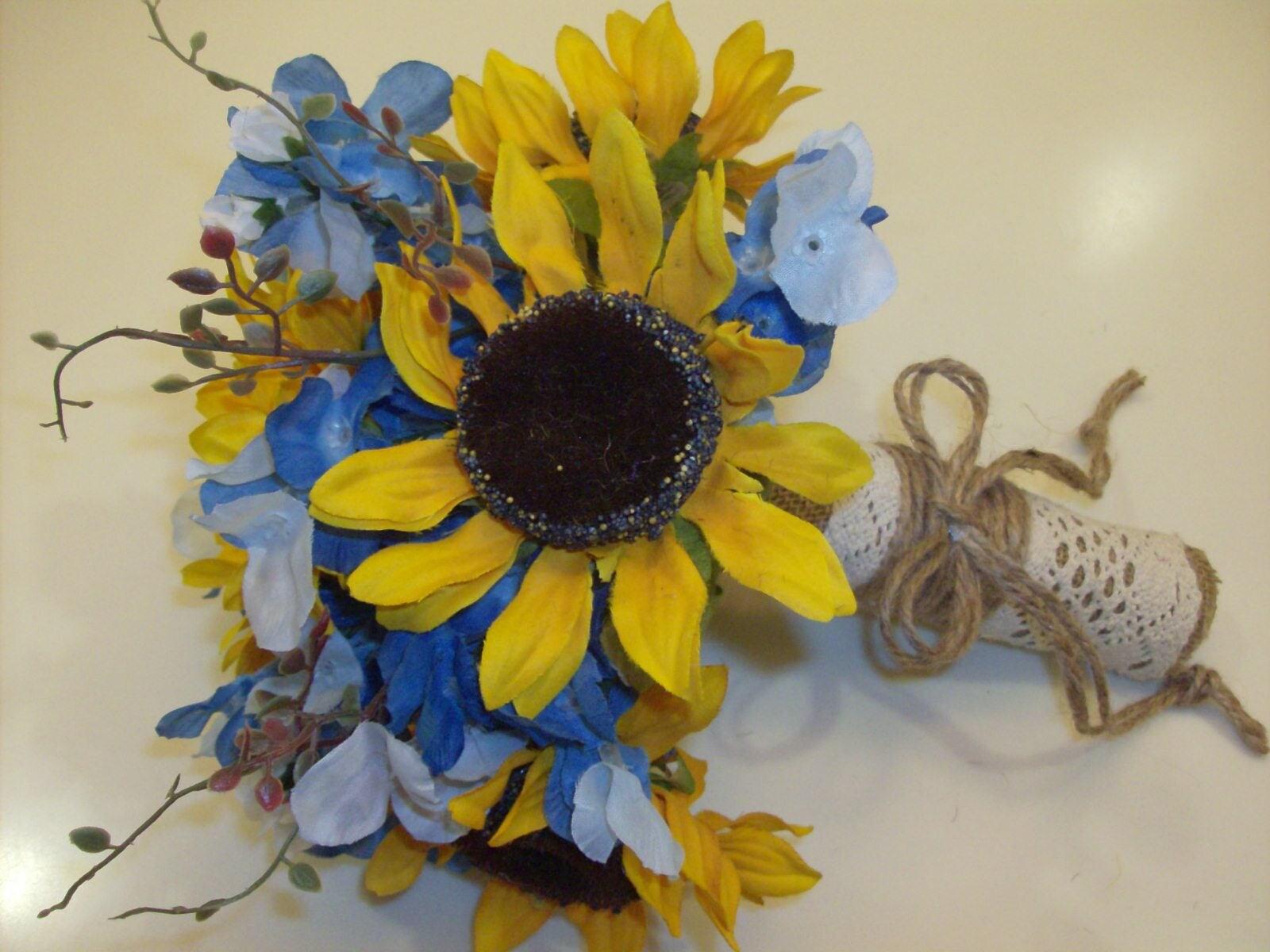 Country Western Silk Bridal Bouquet Sunflowers Texas Bluebonnets
