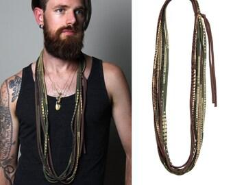 Boyfriend Gift, Mens Necklace, Mens Gift, Gift for Men, Mens Jewelry, Necklace for Men, Mens Scarf, Gift for Boyfriend, Burning Man, Mens