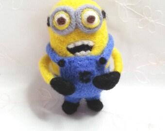 Needle felted woolen minion Bob wool cartoon character toy