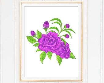 Flower Illustration, Purple Rose Painting, Rose Printable, Flower Wall Decor, Digital Rose, Instant Download Art, Botanical Wall Art