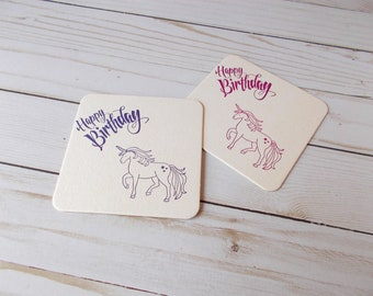 Unicorn Coasters, Whimsical Table Decor, Happy Birthday Coasters, Magical Birthday Party, Hand Stamped Drink Coasters