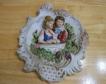 Vintage wall hanging Lefton China 3D Relief Couple Holding Hands Romantic gift Love KW350 rf1 home décor collectibles Japan Romance ceramics