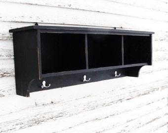 Entryway Storage Shelf,  Cubby Shelf, Storage Shelf with Hooks, Entryway Shelf, Painted Furniture, Black, Custom