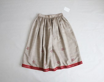 embroidered skirt | 1950s skirt | red floral skirt