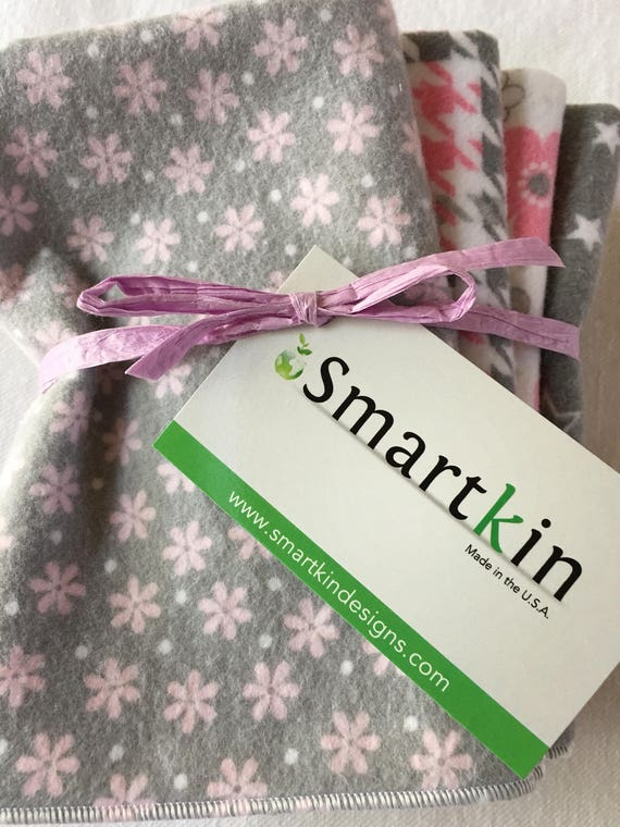 Pink and Gray Unpaper Towels and or Napkins Absorbent All Cotton Cloth 12x15 in Size by Smartkin