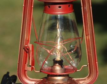 Electric Lantern Table Lamp, RED COPPER LANTERN, Electric Hurricane Lantern, Night Light, Rustic Lantern Light, Table Lamp