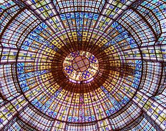 Paris Photography, Stained Glass Ceiling Printemps, Fine Art Travel Photograph, Large Wall Art, Paris Wall Decor
