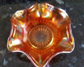 Marigold carnival glass nappy bowl small