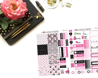 Flirty Girl mini HP Kit// MINI HP Weekly Kit// 2 sheets of planner stickers