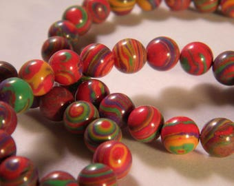 10 beads multicolor natural stone - 8 mm - A - PP - 02