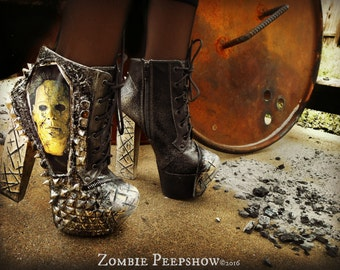 """Michael Myers """"Halloween"""" Studded Ankle Boots Heels"""