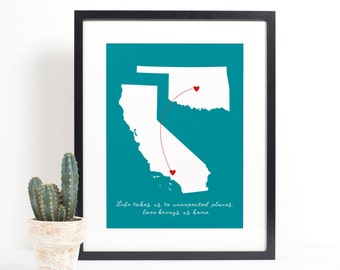 Mothers Day Gift from Son, Long Distance Family Map, Two States, Miss You Mom, Send Mother's Day Gift, Mom Quote, Gift for Her